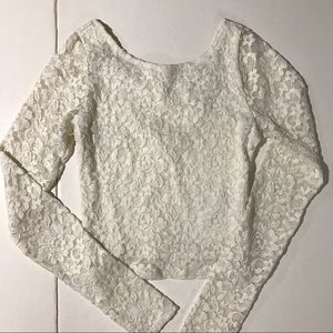 Abercrombie white lace long sleeve crop top